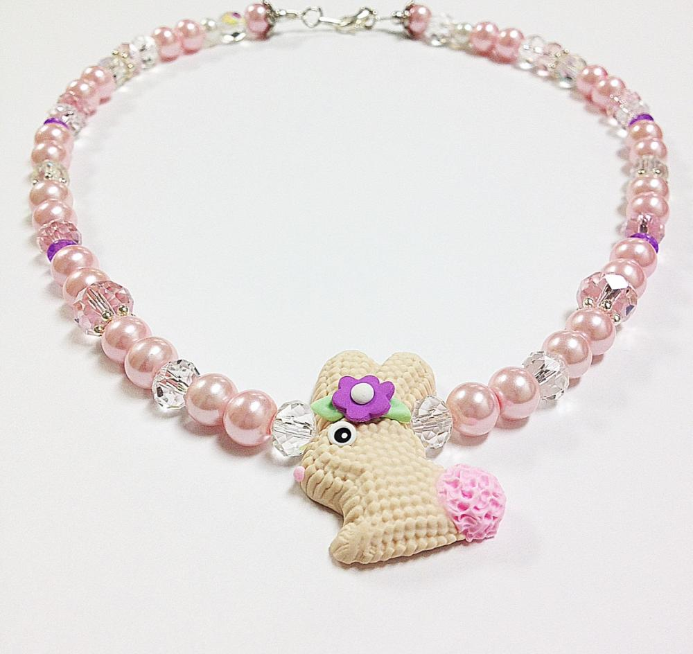 Baby Pink & Clear Pearl Crystal Easter Necklace