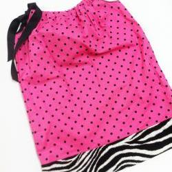 Polka Dot Zebra Pillowcase Dress Size 4-5
